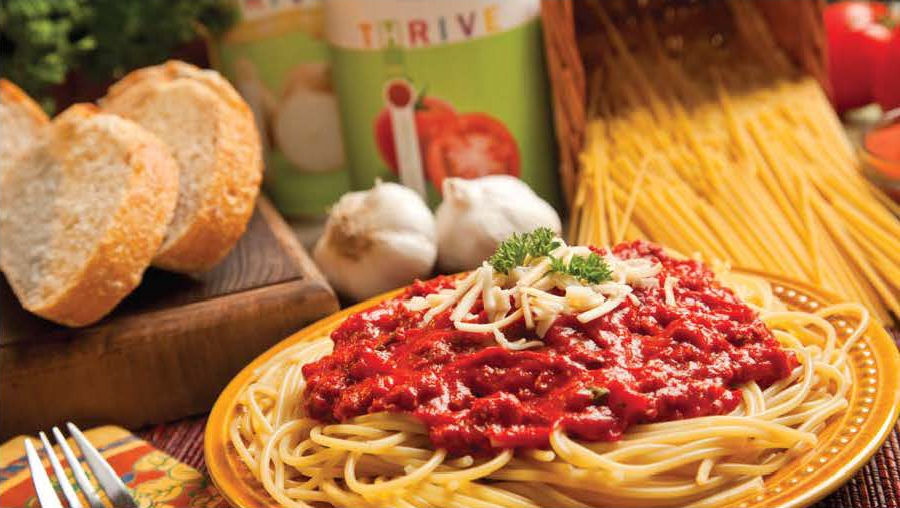 Spaghetti dinner made with gmo free thrive products. Gourmet without the gourmet costs.