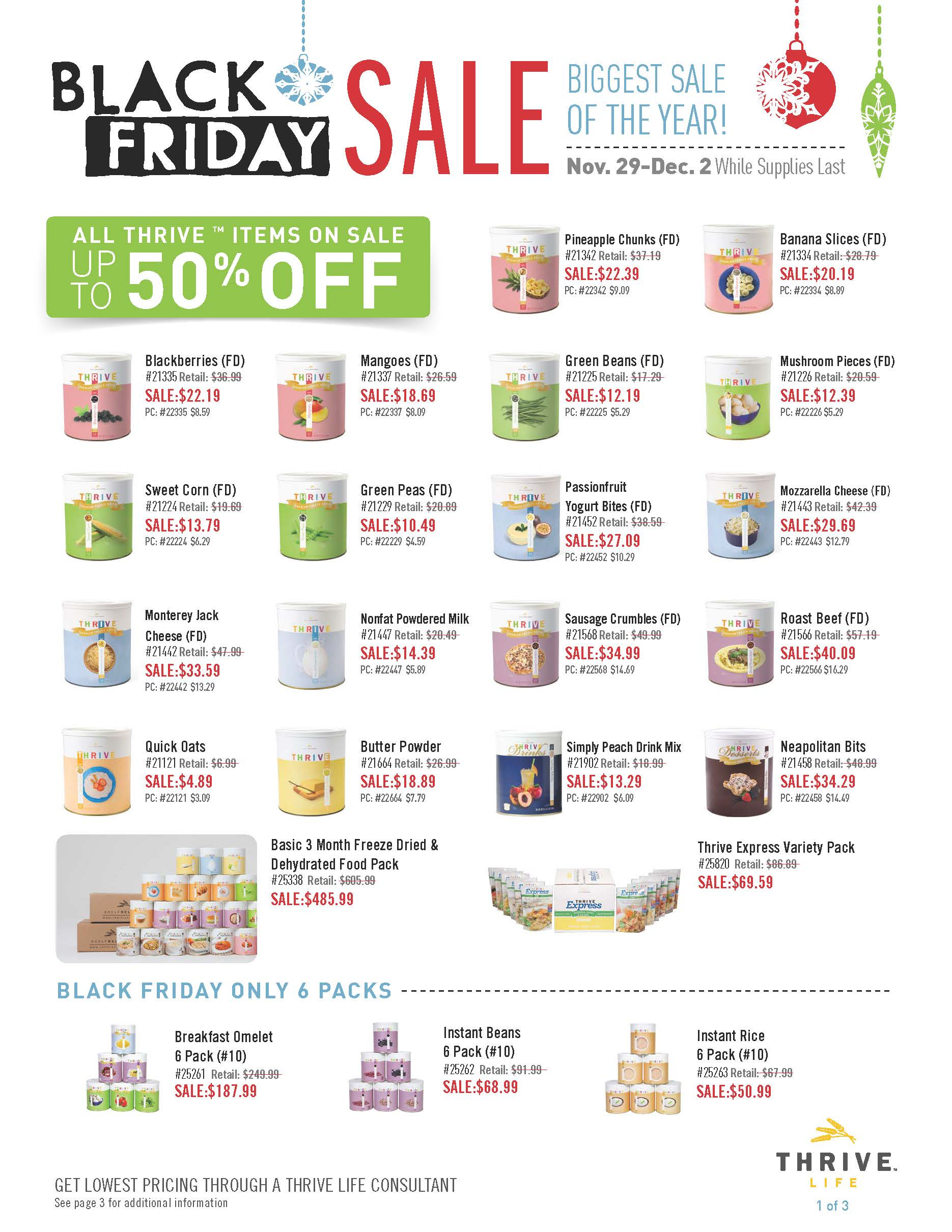 Make sure you get a case of these individual items on sale for an additional 5% savings computed in the pricing.  For example, sweet peas are 50% off.  IF YOU BUY A CASE OF SWEET PEAS, THEY ARE 55% OFF.  THIS CANNOT BE BEAT!