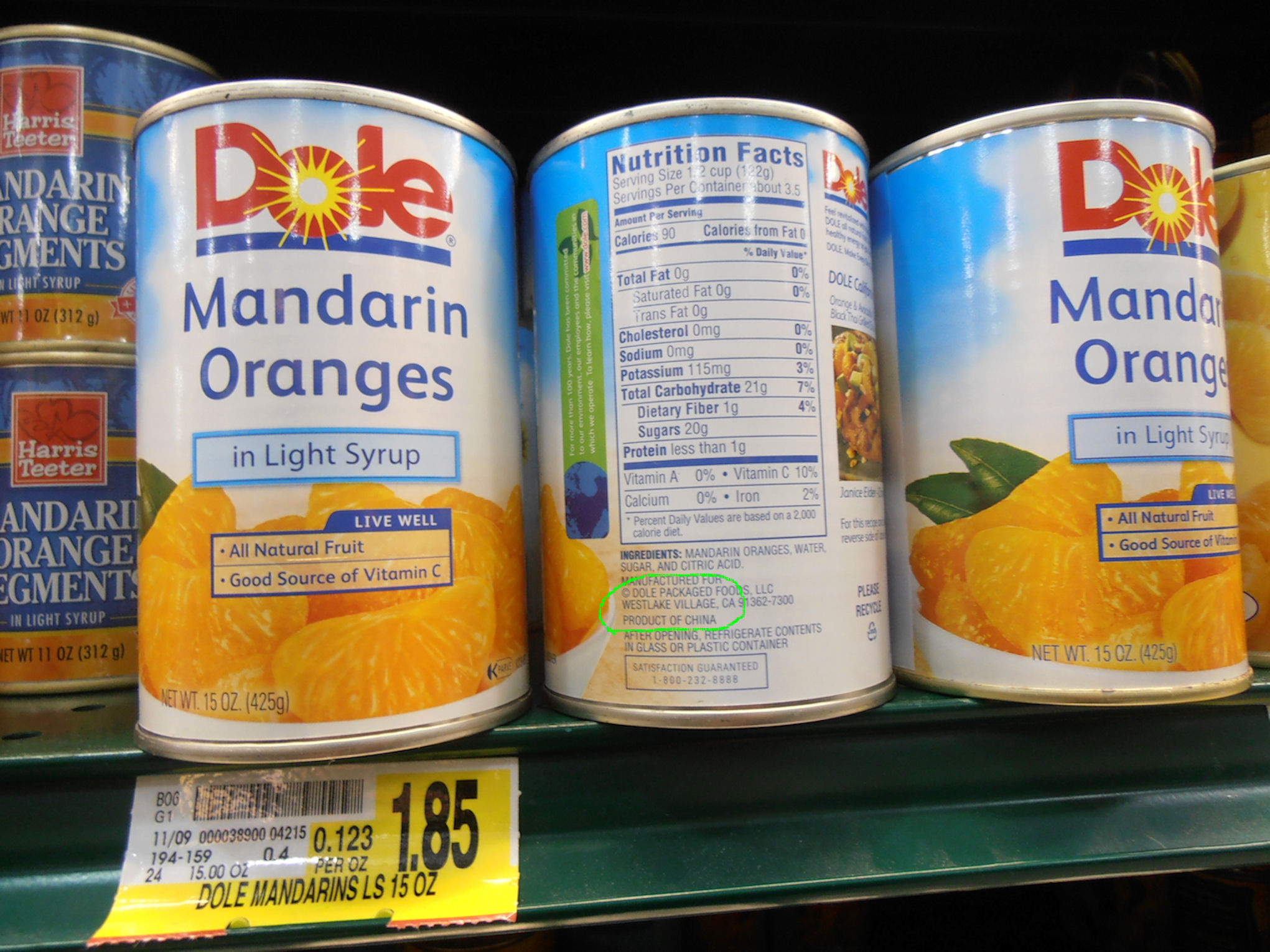 Major food companies import food from China.  Did you know many of the mandarin oranges are grown in China?  Research and you will find many issues with Chinese agricultural practices and government practices that condone or attempt to hide the issues. Dole Mandarin Oranges come from China.  Does that motivate you to go purchase this product?